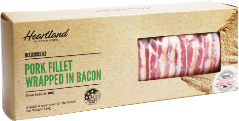 Delicious NZ Pork fillet wrapped in bacon Package